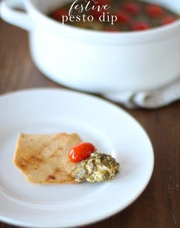 Easy 3 ingredient festive Pesto Dip! A great last minute appetizer for the holidays.