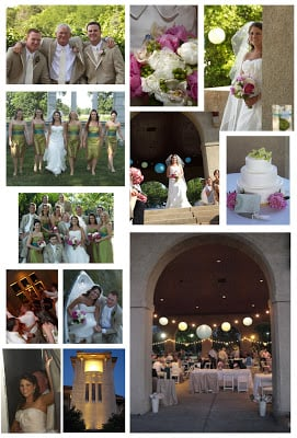 Various wedding pictures but together in a collage