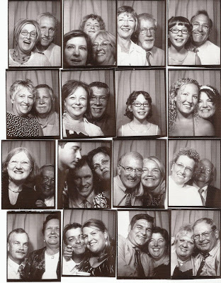 Various black and white pictures of people posing in a photo booth.