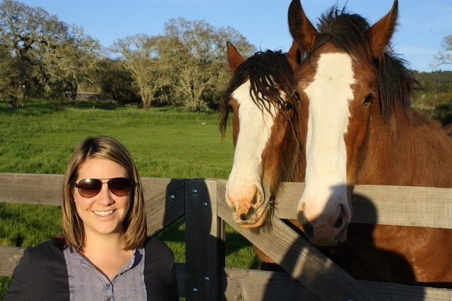 Julie standing next to two horses.