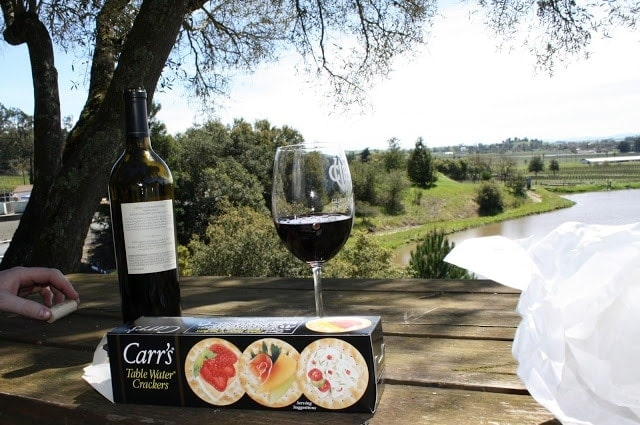 A person sitting at a table with wine and crackers, over looking the valley.