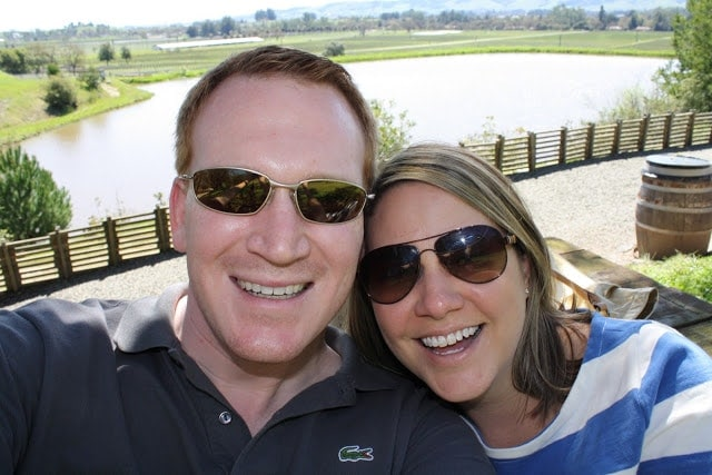 Julie and her husband taking a selfie in front of the valley.