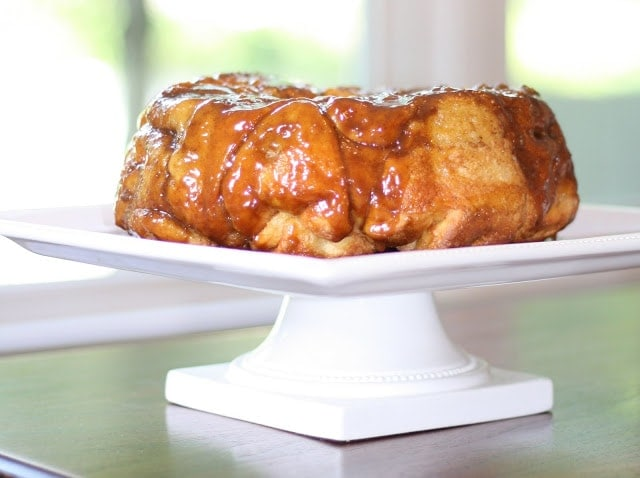 Monkey bread on a white cake stand