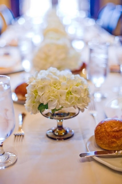 White flower centerpieces.
