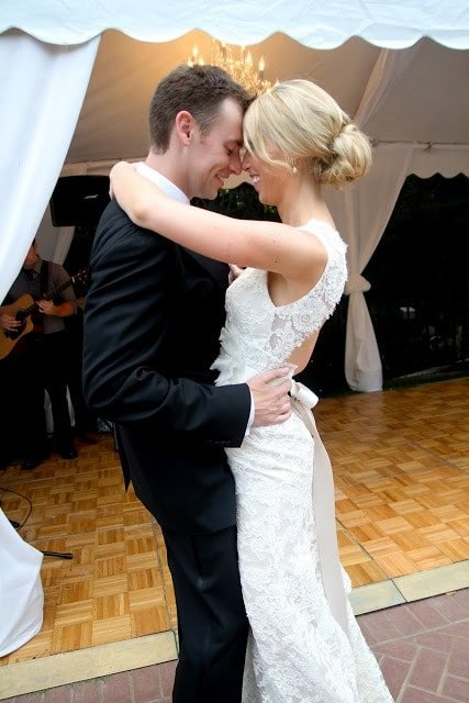 The bride and groom having their first dance together.