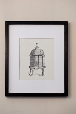 A drawing of a gazebo framed on the wall.