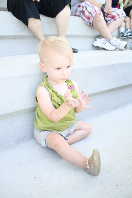 A baby clapping