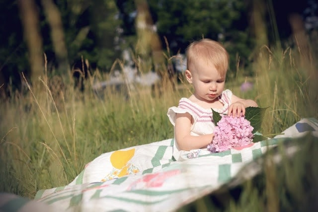 A small child playing outside while sitting on a picnic blanket and playing with flowers.