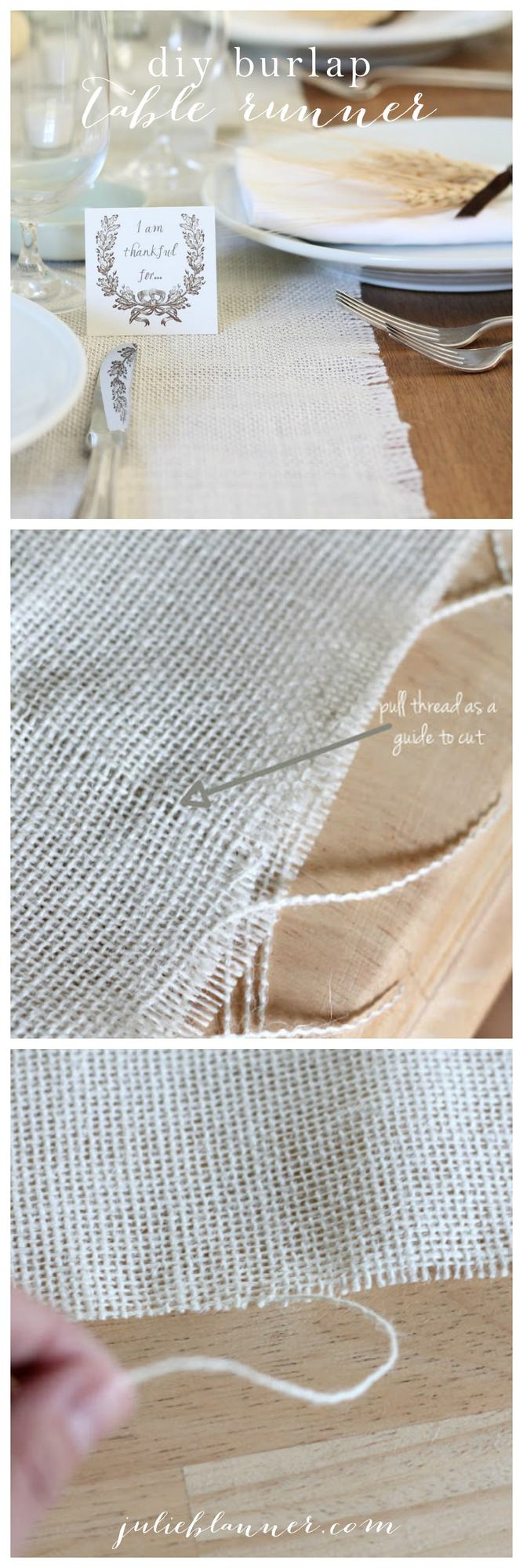 Easy diy burlap table runner - beautiful table decor & a great gift