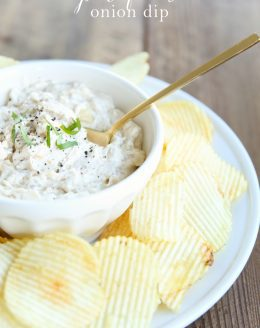 Incredible pan fried onion dip recipe with caramelized onions, great for breads, chips and veggies