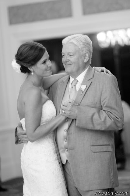 A bride dancing with her father.