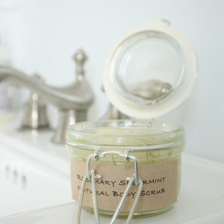 rosemary mint homemade sugar scrub in a jar