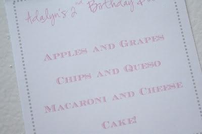 A Birthday Menu
