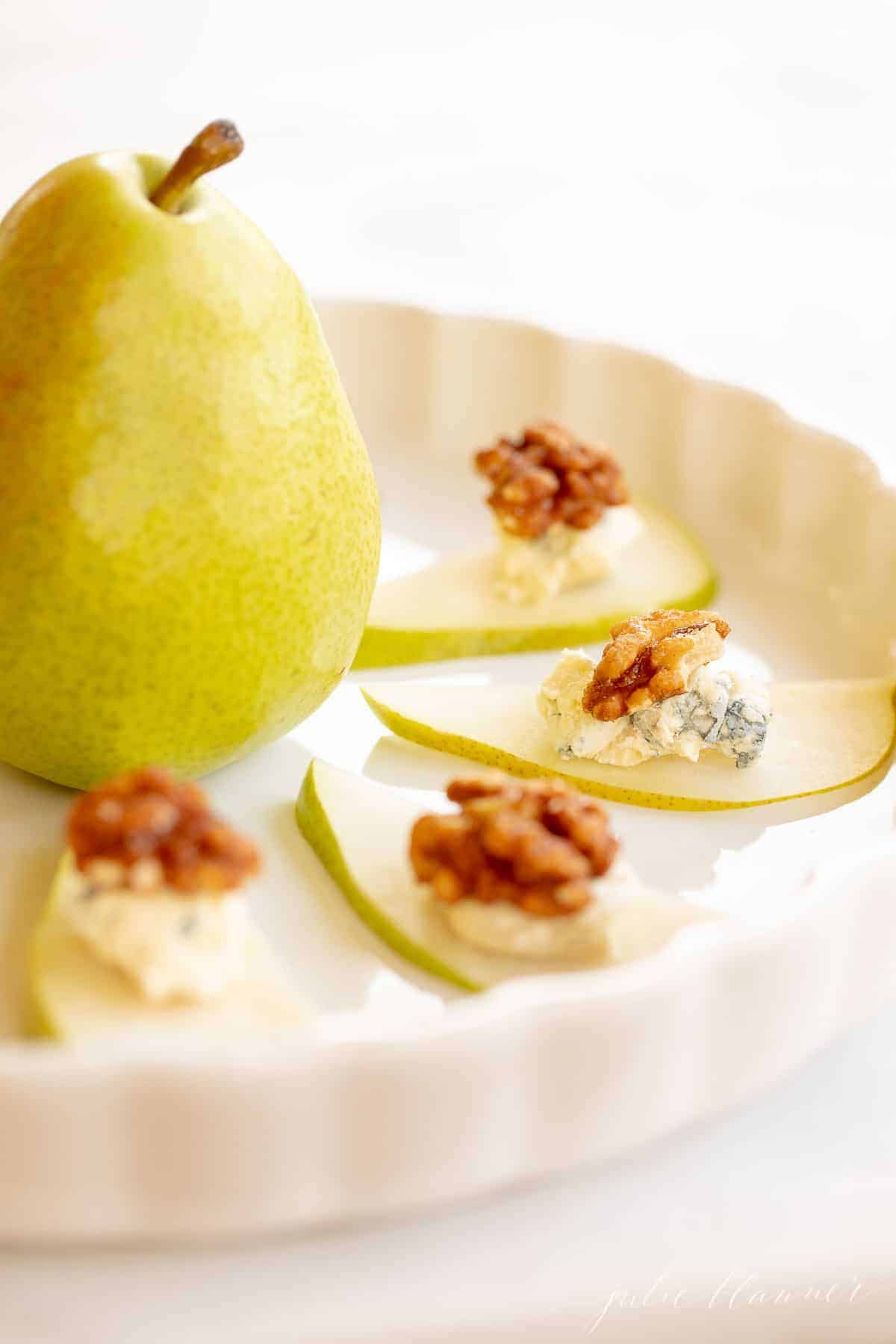 platter with pear blue cheese and walnuts