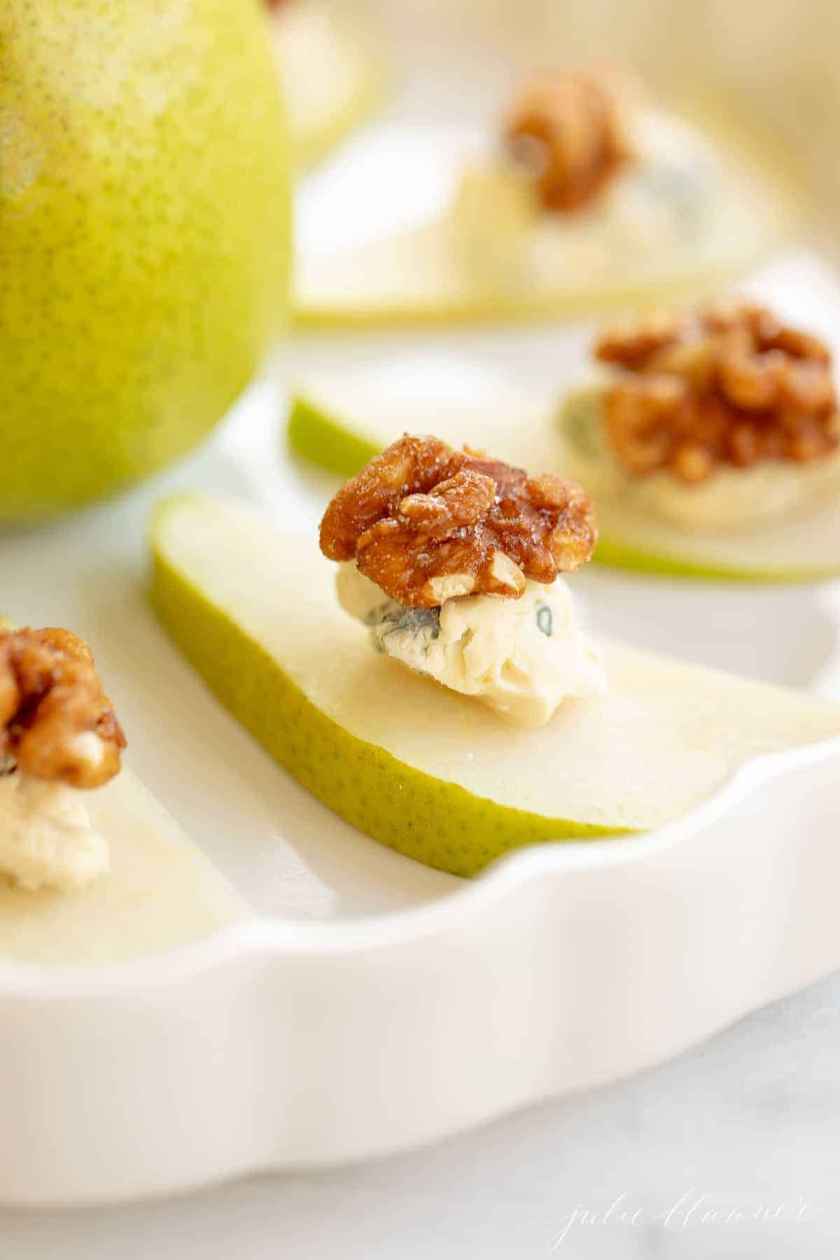closeup of a pear with blue cheese and walnut healthy holiday recipe
