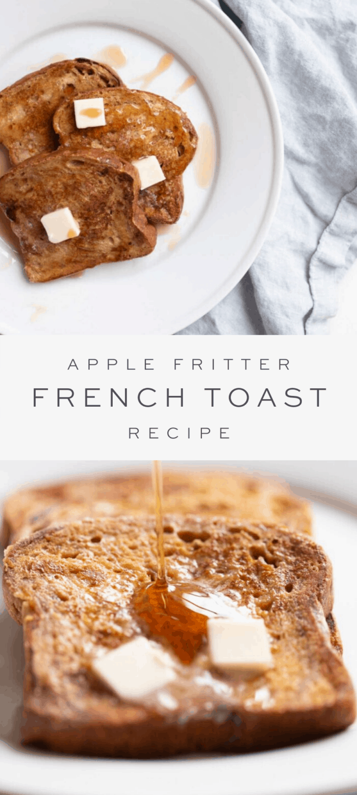 three slices of apple fritter french toast on white plate, overlay text, close up of apple fritter french toast with syrup