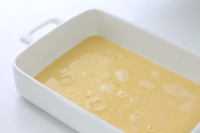 custard in baking dish