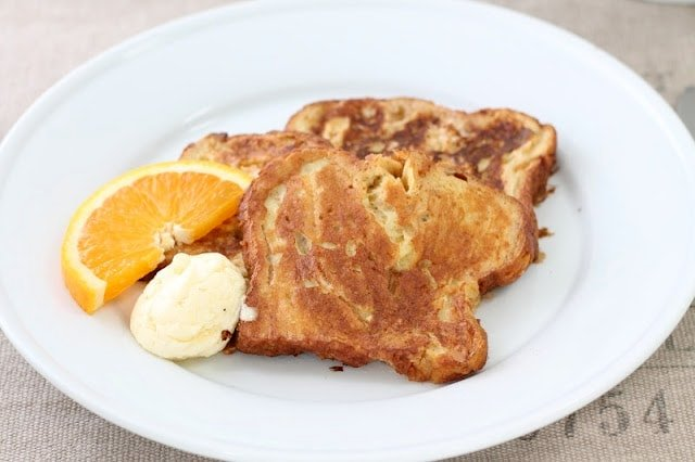 Close up of Apple Fritter French Toast on a plate