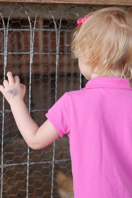 A little girl standing in front of a fence