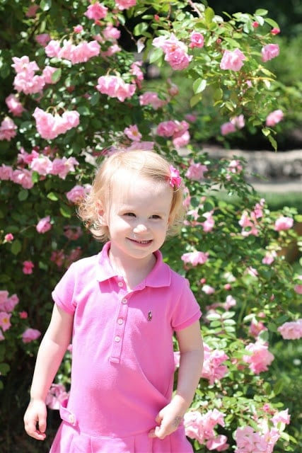 A little girl standing in front of pink flowers