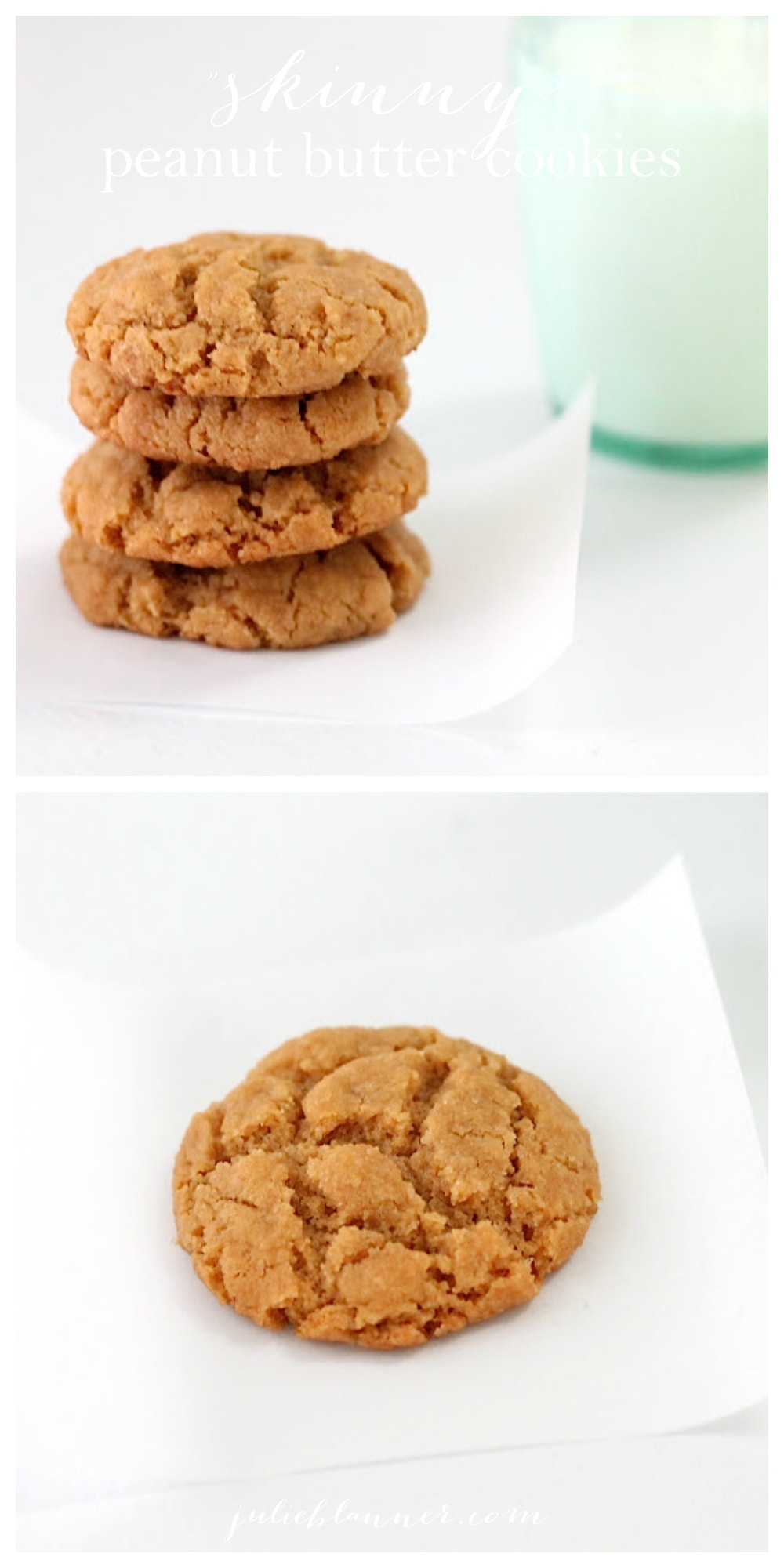 Skinny Flourless Peanut Butter Cookie recipe - a lower calorie, gluten free version that stacks up to the original!