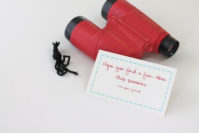 Red binoculars and a note to go with it