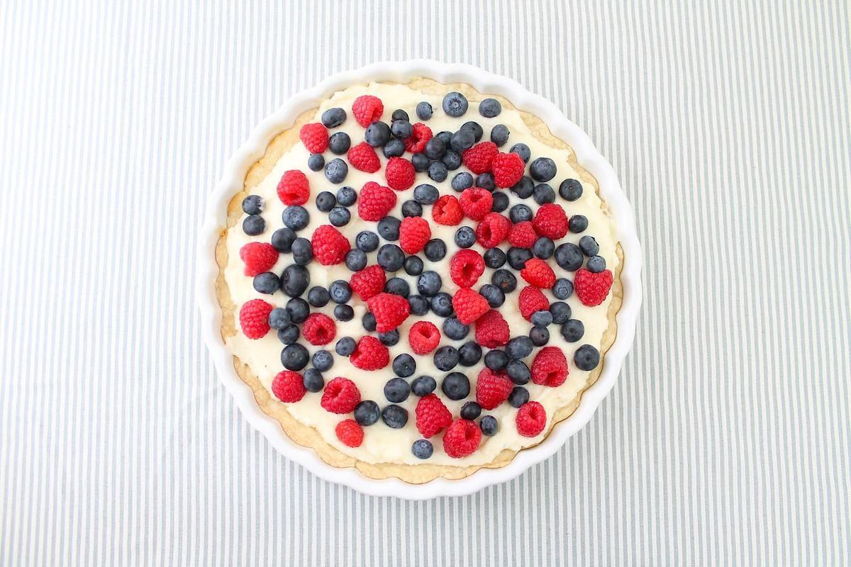 Beautiful & refreshing fruit tart recipe on a sugar cookie crust