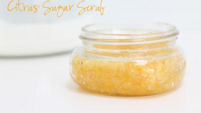 citrus sugar scrub in a jar