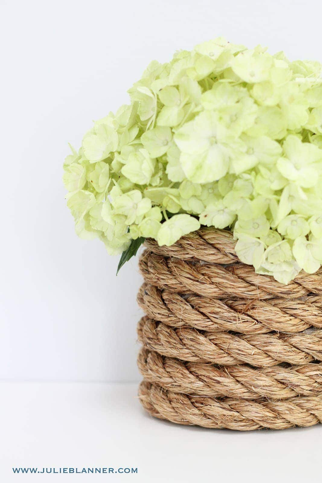 rope vase filled with hydrangea