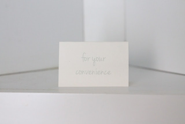 A close up of a sign that says \'for your convenience\'