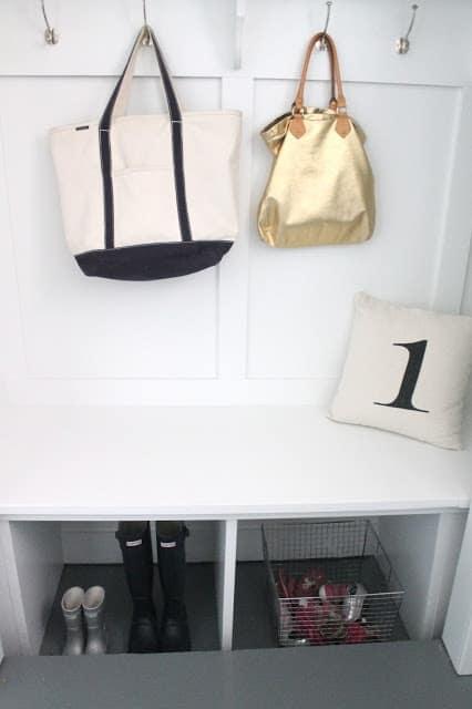 A mudroom nook built into a closet.