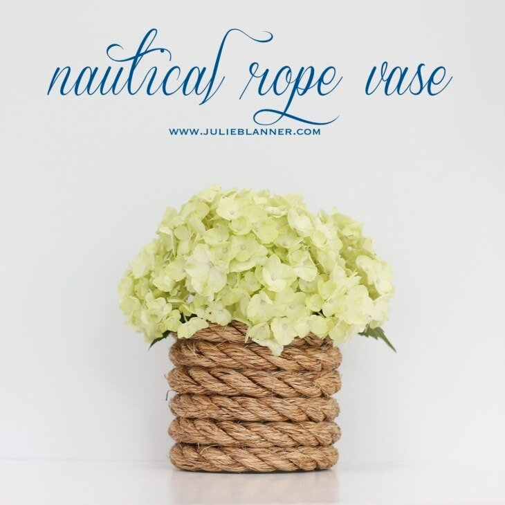 nautical rope vase with flowers and title
