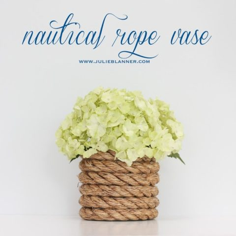 nautical rope vase filled with hydrangea