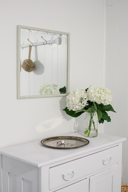 A vase with flowers in front of a mirror