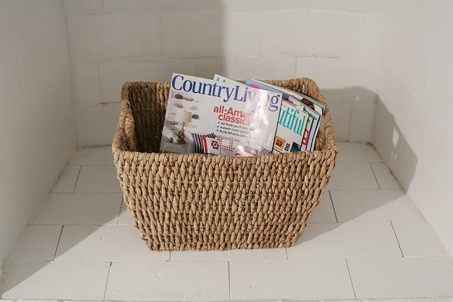 A close up of a basket with magazines in it