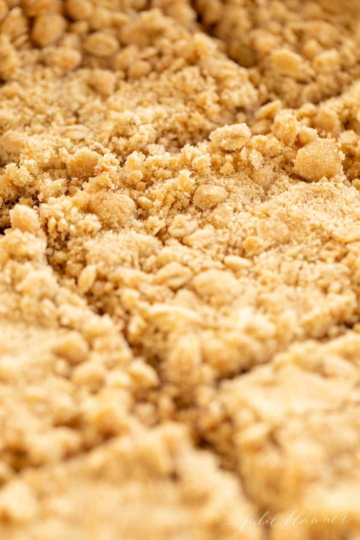 close up of sliced bars with crumble