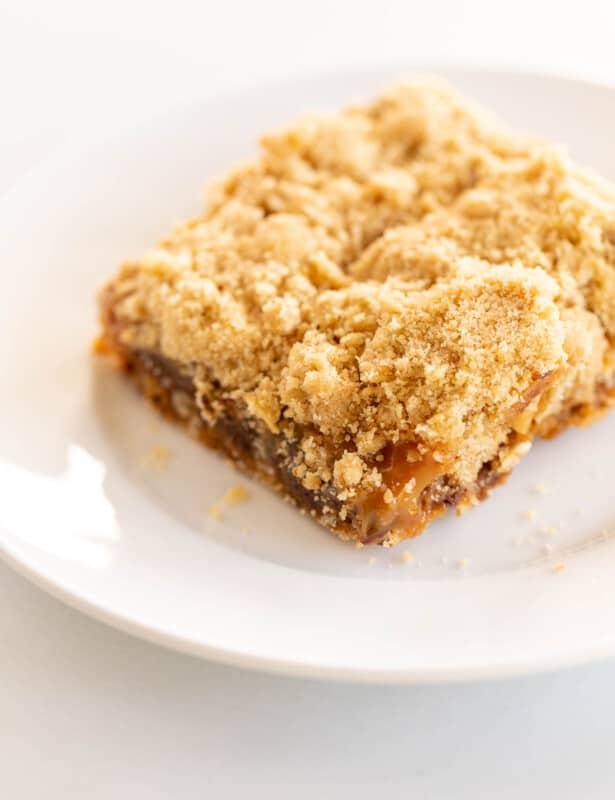 Caramel Oatmeal Cookie Bar on white plate