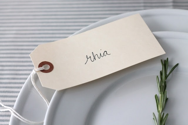 A nametag on a plate