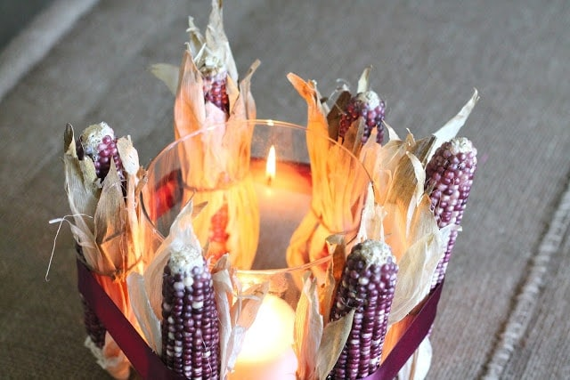Natural fall decor | Dried Corn Centerpiece Tutorial