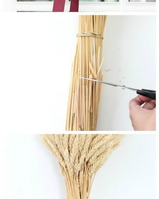 DIY wheat sheaf centerpiece or wreath tutorial