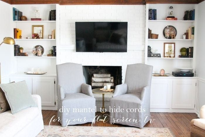 Hiding cord on wall mount for flat screen tv diy mantel julie blanner for Hiding a tv in the living room
