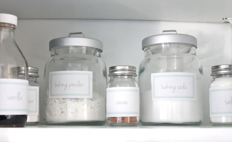 baking and spice cabinet with free printable spice jar labels