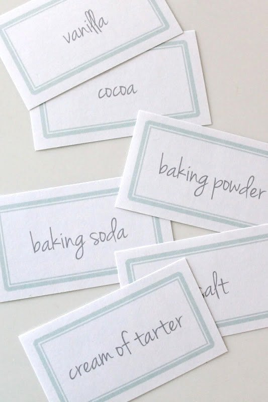 Free printable baking pantry labels