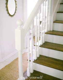 transform a dated & worn stairwell with this easy diy stair makeover exposing the treads & risers