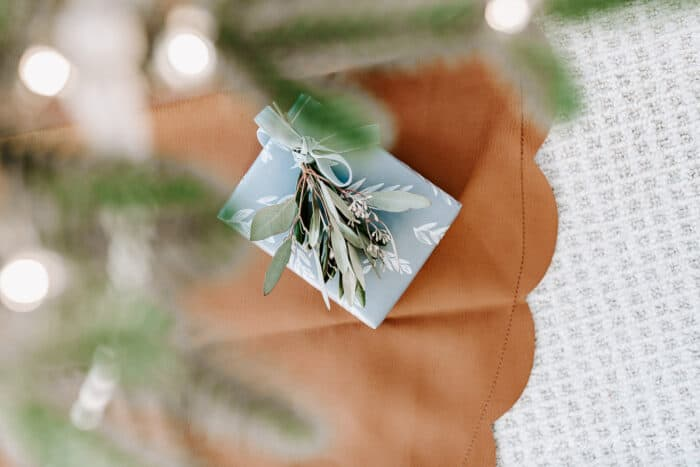 small present under tree on leather tree skirt