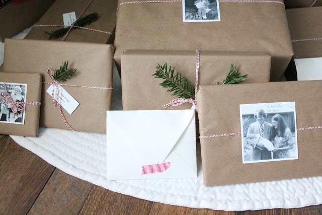 beautiful Christmas gift wrap idea via www.julieblanner.com