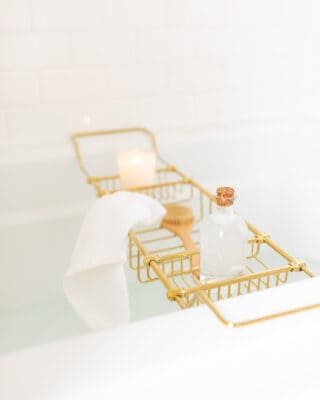 bath tub with brass tray