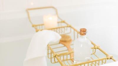 bath tub with brass tray