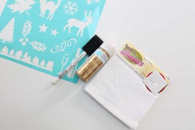Craft supplies for a handmade DIY Christmas hand towel.