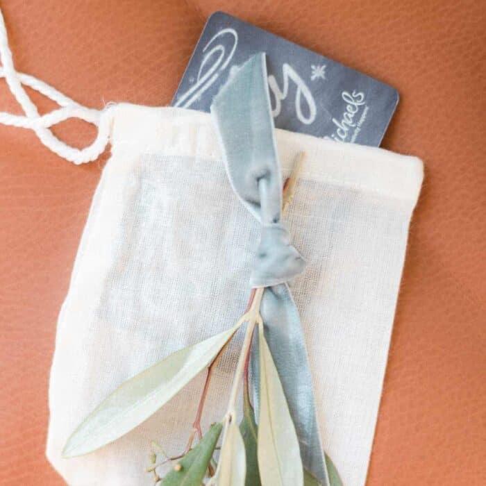 gift card in muslin bag